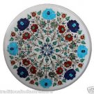 Size 1'x1' Marble End Coffee Table Top Multi Inlay Gems Mosaic Floral Decor
