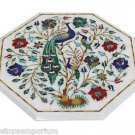 Size 1'x1' Marble Coffee Table Top Semi Pricious Pietra Dura Peacock Inlaid Arts