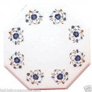 Size 1'x1' Marble Side Coffee Table Top Lapis Gems Mosaic Floral Home Decor