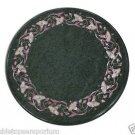 """12"""" Black Marble Table Top Coffee Pink Pietra Dura Inlaid Art Of Inlay Decor New"""