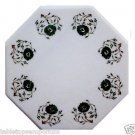 Size 1'x1' Marble End Coffee Table Top Malachite Mosaic Floral Home Decor