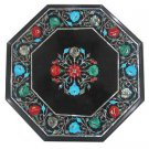 Size 1'x1' Black Marble Coffee Table Top Marquerty Pietra Dura Christmas Gifts