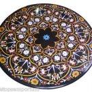 "Size 42""x42"" Black Marble Round Dining Center Table Top Inlay Pietradure Mosaic"