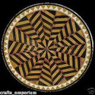 "24"" Black Marble Marquetry Inlay Coffee Dining Table Top Mosaic Beautiful Arts"