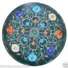 "Size 18""x18"" Marble Round Coffee Table Top Semi Gem Inlay Mosaic Handicraft"