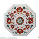 Size 1'x1' White Marble Side Table Top Inlay Handmade Home Decor Christmas Gifts