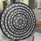 """42"""" Black Round Marble Dining Table Top Coffee Floral Of Inlay Pietra Dura Gifts"""