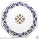 "Size 15""x15"" White Marble Handmade Coffee Table Top Pietra Dura Home Decor Arts"