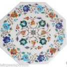 Size 1'x1' White Marble Side Corner Coffee Table Top Rare Mosaic Inlay Stone Art