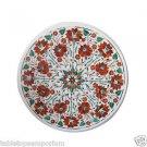"Size 18""x18"" Marble Coffee Table Top Carnelian Inlay Mosaic Christmas Home Decor"
