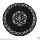 "17"" Black Marble Table Top Side Coffee Paua Shell Pietradura Home Decor New Arts"
