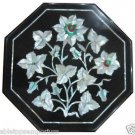 "12"" Black Marble Table Top Inlay Mother Of Pearl Handmade Mosaic Decor Gifts Art"