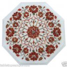 Size 1'x1' Marble Coffee Table Top Hakik Inlay Semi Precious Home Decor Art
