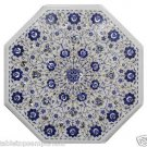 Size 2'x2' Marble Corner Coffee Table Top Rare Lapis Gem Mosaic Floral Decor