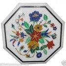 Size 1'x1' Marble End Coffee Table Top Semi Precious Gem Mosaic Floral Decor