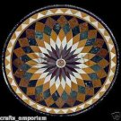 "36"" Pietra Dura Inlaid Handmade Black Marble Table Top Opal Design Home Decor"