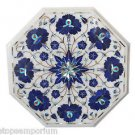 Size 1'x1' White Marble Coffee Table Top Inlay Lapis Lazuli Christmas Gifts