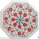 Size 1'x1' White Marble End Coffee Corner Table Top Carnelian Stone Mosaic Decor