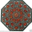 "18"" Green Marble Dining Table Top Coffee Hakik Inlaid Pietra Dura Home Decor Art"