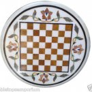 Size 2'x2' White Marble Round Corner Coffee Chess Table Top Inlay Pietradure Art