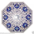 Size 1'x1' White Marble Center Side Coffee Table Top Lapis Lazuli Mosaic Work