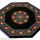 "18"" Black Marble Coffee Side Table Top Mosaic Carnelian Inlay Mosaic Patio Decor"