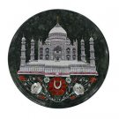 Size 1'x1' Black Marble Round Side Table Top Taj Mahal Inlay Christmas Day Gifts