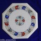 """18"""" White Coffee Table Top Hakik Floral Paua Shell Mosaic Pietra Dura Decor Art"""