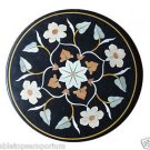 """Size 24""""x24"""" Black Marble Coffee Table Top Side Table Marquetry Mosaic Inlaid"""