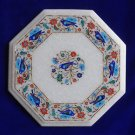 "12"" Marble Table Top Semi Precious Pietra Dura Peacock Design Floral Home Decor"