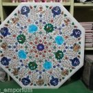 "24"" Round Marble Dining  Turquoise Floral Paua Table Top Coffee Pietra Dura Arts"