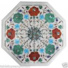 Size 1'x1' Marble Side Table Top Handmade Pietra Dura Decor Christmas Gifts