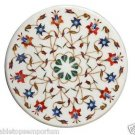 "Size 24""x24"" Marble Round Corner Coffee Table Top Mosaic Inlay Floral Arts Decor"