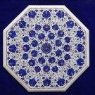 "24"" Marble White Table Top Lapis Lazuli Inlaid Design Marquetry Furniture Decor"