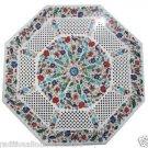 Size 2'x2' Marble Coffee Table Top Rare Inlay Stone Mosaic Lattice Art Decor