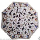 "Size 42""x42"" White Marble Dining Coffee Center Table Top Inlay Elephant Mosaic"