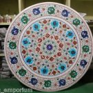 """36"""" Round Marble Dining Table Top Coffee Inlay Floral Semi Precious Art Decor"""
