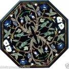 Size 1'x1' Black Marble Center Coffee Side Table Top Inlay Mosaic Pietradure Art