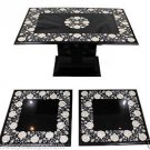 Lot 3 Black Marble Coffee Dining Table Top Mother of Pearl Inlay Home Decor