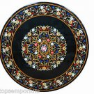 Size 4'x4' Black Marble Coffee Side Table Top Inlay Antique Christmas Home Decor