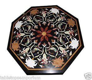 Size 2'x2' Black Marble Side Coffee Corner Table Top Inlay Gemstone Mosaic Decor