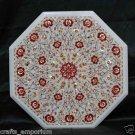 "20"" Marble Inlay Paua Shell coffee Side Table Top Hakik Pietra Dura Decor Art"