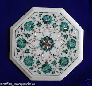 "12"" White Marble Coffee Table Top Stone Inlaid Marquetry Pietra Dura Malachite"