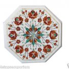 Size 1'x1' Marble End Table Top Living Room Pietra Dura Inlaid Arts Handmade