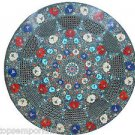 Size 2'x2' Marble Round Coffee Table Top Semi Gems Inlay Mosaic Patio Decor
