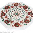 Size 1'x1' Marble Coffee Table Top Hakik Semi Pricious Real Stone Inlaid Arts