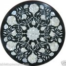 "15"" Round Black Marble Table Top Coffee Paua Shell Floral Pietra Dura Art Decor"