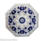 Size 1'x1' Marble Side Table Top Rare Pietra Dura Flower Marquertry Decor Art