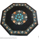 2'x2' Marble Side Corner Coffee Table Top Turquoise Inlay Mosaic Arts Decorative