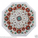 "Size 14""x14"" Marble Handmade Side Table Top Inlay Pietra Dura Italian Art Home"